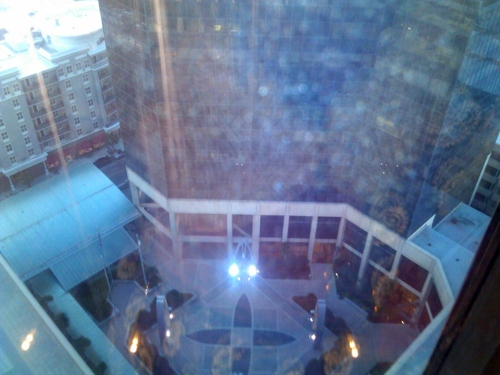 View down the great glass elevator