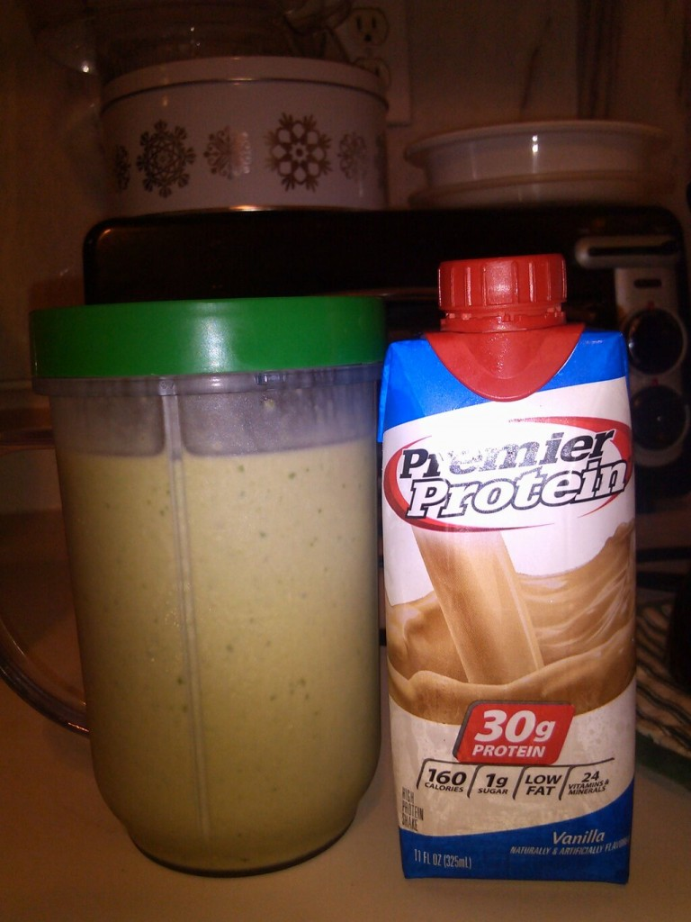 Premier Protein, spinach, banana, peanut butter