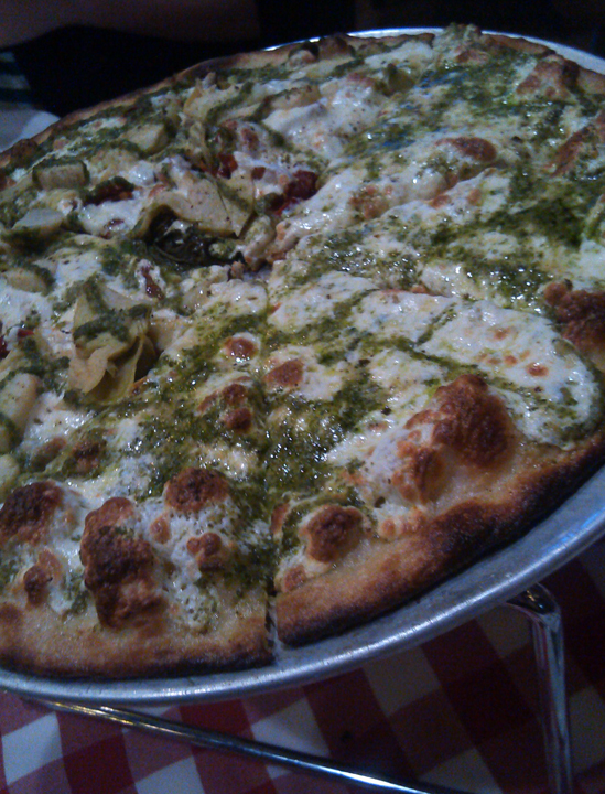 Grimaldis Tampa Bay pesto pizza