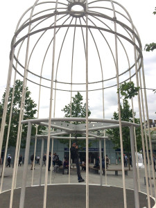 interactive birdcage art piece identified flying object