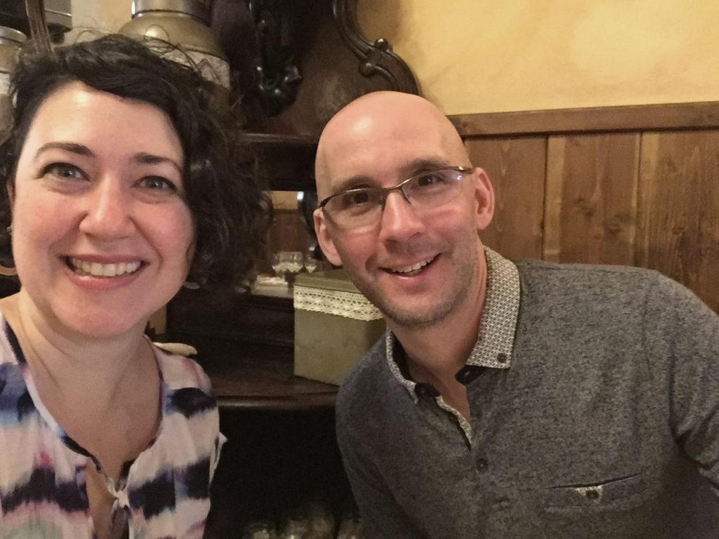 selfie in rome italy restaurant