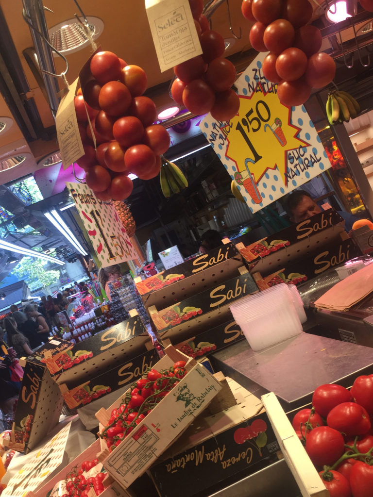 tomatoes at boqueria market